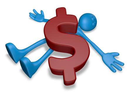 dead blue guy under dollar symbol - 3d illustration Stock Photo