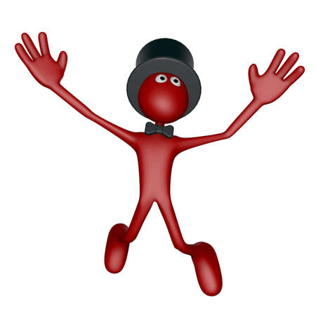 topper: jumping red guy with topper on white background - 3d illustration