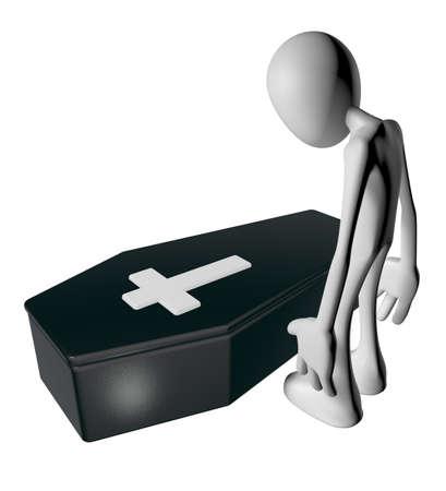 black casket whit christian cross and white guy - 3d illustration