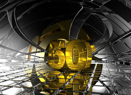 fifty: number fifty in abstract futuristic space - 3d illustration