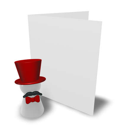 ringmaster and congratulation card - 3d illustration illustration