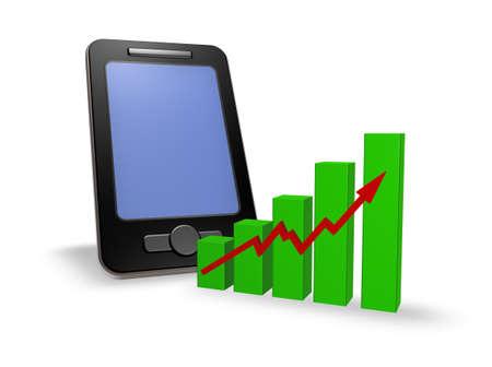 smartphone and business graph - 3d illustration illustration