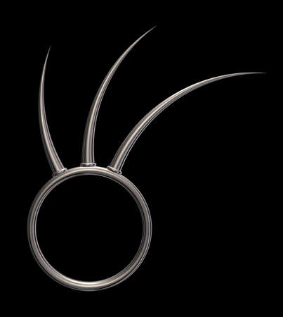 prickles: metal ring with prickles on black background - 3d illustration Stock Photo