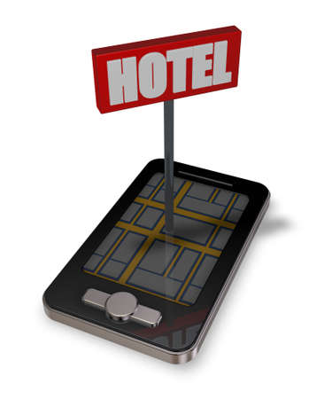 smartphone with hotel sign - 3d illustration illustration