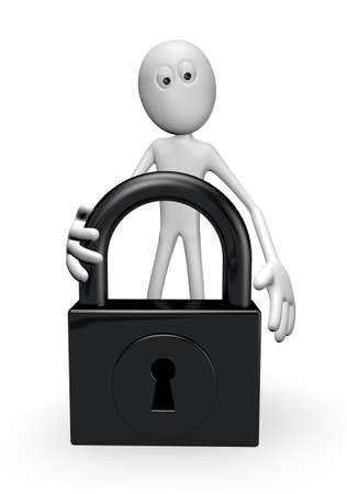 white guy and padlock on white background - 3d illustration Stock Illustration - 22271579