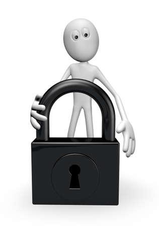 white guy and padlock on white background - 3d illustration Stock Illustration - 22271579