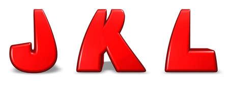 red  letters j, k and l on white background - 3d illustration