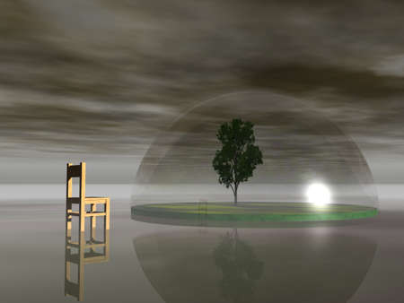 glass dome: chair and tree under a glass dome - 3d illustration