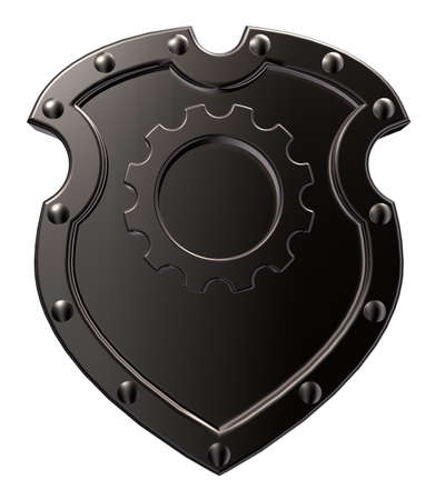 iron defense: riveted metal shield with gear wheel symbol on white background - 3d illustration