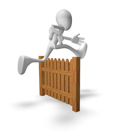 white guy jumps over wooden fence - 3d illustration illustration
