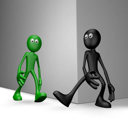 to stumble: black guy tries get green guy to stumble - 3d illustration Stock Photo