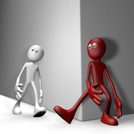 obnoxious: red guy tries get white guy to stumble - 3d illustration