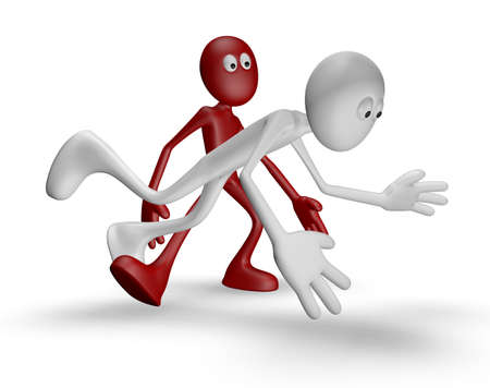 obnoxious: red guy gets white guy to stumble - 3d illustration