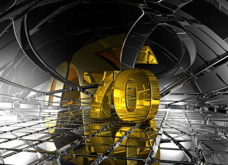 numerical value: number seventy in abstract futuristic space - 3d illustration