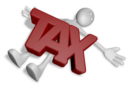 cartoon guy under the word tax - 3d illustration illustration
