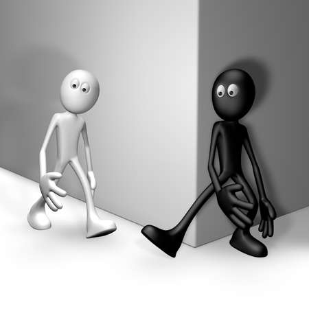 stumble: black guy tries get white guy to stumble - 3d illustration