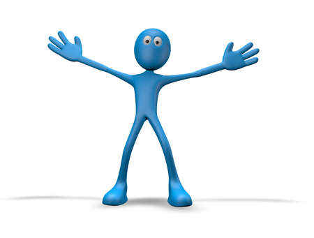 wide open: cartoon guy with wide open arms - 3d illustration