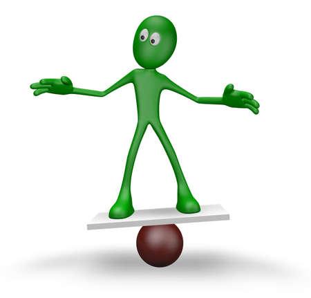 equalize: cartoon guy balancing on sphere  - 3d illustration