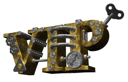 dieselpunk: the letters vip in steampunk style - 3d illustration