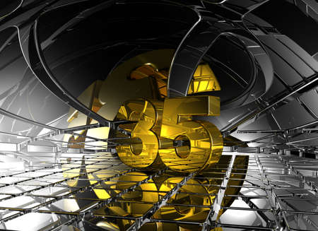 jubilation: number thirty five in abstract futuristic space - 3d illustration
