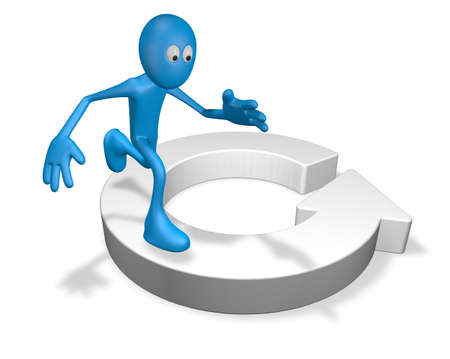 cartoon guy runs on round arrow - 3d illustration illustration