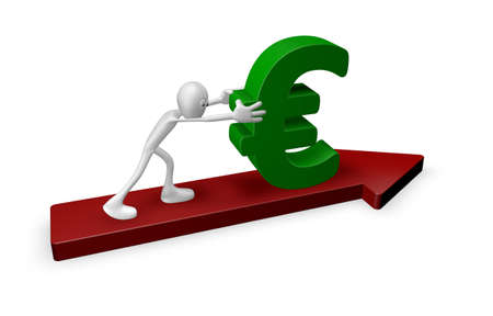 conjuncture: cartoon guy pushes euro on arrow - 3d illustration