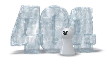 token: polar bear token and frozen number 404 on white background - 3d illustration