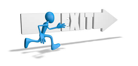 wayout: exit arrow and running cartoon guy - 3d illustration Stock Photo