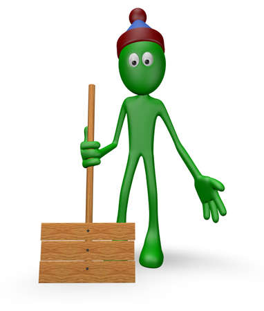 cartoon guy with snow shovel - 3d illustration