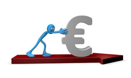 cartoon guy pushes euro on arrow - 3d illustration