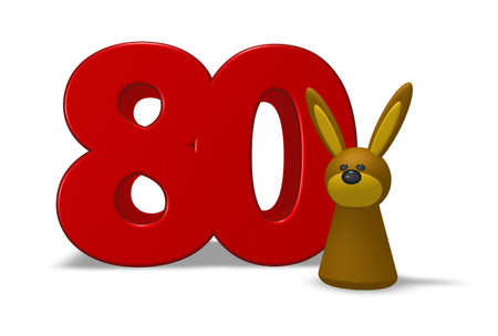 eighty: number eighty and rabbit - 3d illustration Stock Photo