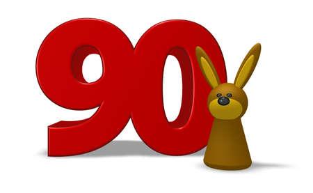 ninety: number ninety and rabbit - 3d illustration