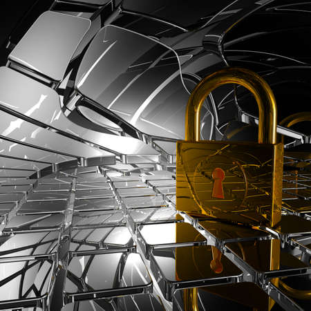 padlock in abstract space - 3d illustration Stock Illustration - 23313967