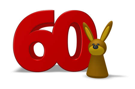 sixty: number sixty and rabbit - 3d illustration