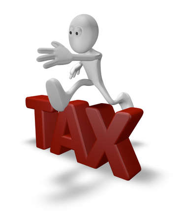 taxpayer: cartoon guy jumps over the word tax - 3d illustration