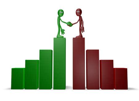 manos unidas: dos chicos de dibujos animados se dan la mano en el gráfico de negocio - 3d ilustración