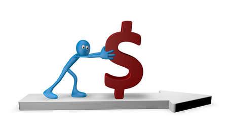 conjuncture: cartoon guy pushes dollar on arrow - 3d illustration