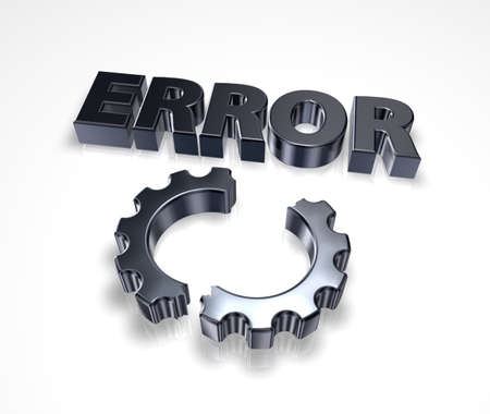 fault: error message and broken cogwheel - 3d illustration Stock Photo