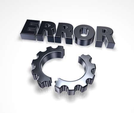 blocked: error message and broken cogwheel - 3d illustration Stock Photo