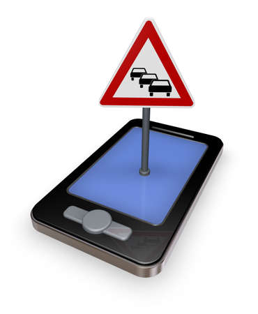 holdup: smartphone with road sign traffic jam on white background - 3d illustration Stock Photo
