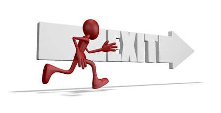 wayout: exit arrow and running cartoon guy - 3d illustration Stock Photo