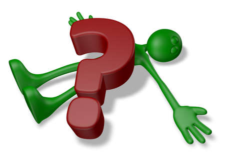 cartoon guy under question mark - 3d illustration