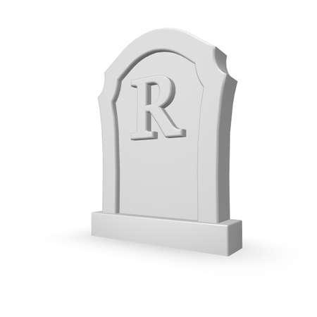 burial: gravestone with uppercase letter r on white background - 3d illustration