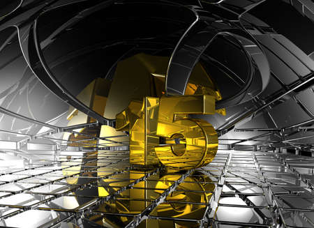 number fifteen in abstract futuristic space - 3d illustration illustration