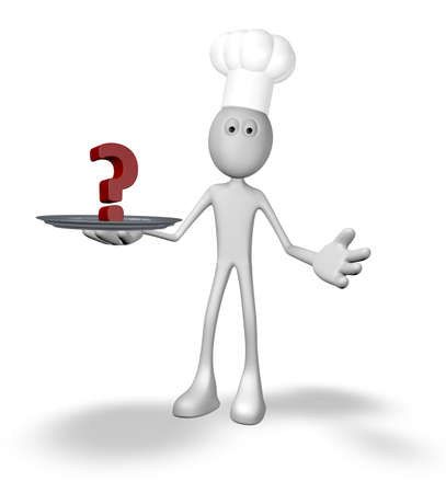 cartoon cook with question mark on plate - 3d illustration illustration