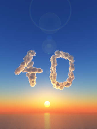 40: clouds makes the shape of number forty - 3d illustration