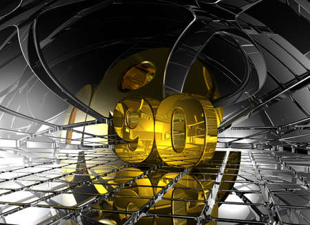 ninety: number ninety in abstract futuristic space - 3d illustration