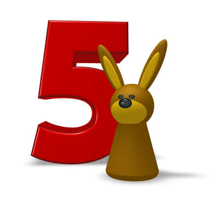numeric character: number five and rabbit - 3d illustration