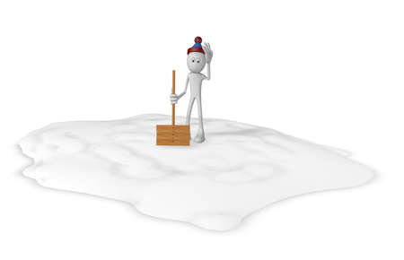 digging: cartoon guy with snow shovel - 3d illustration