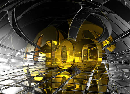 jubilation: number one hundred in abstract futuristic space - 3d illustration